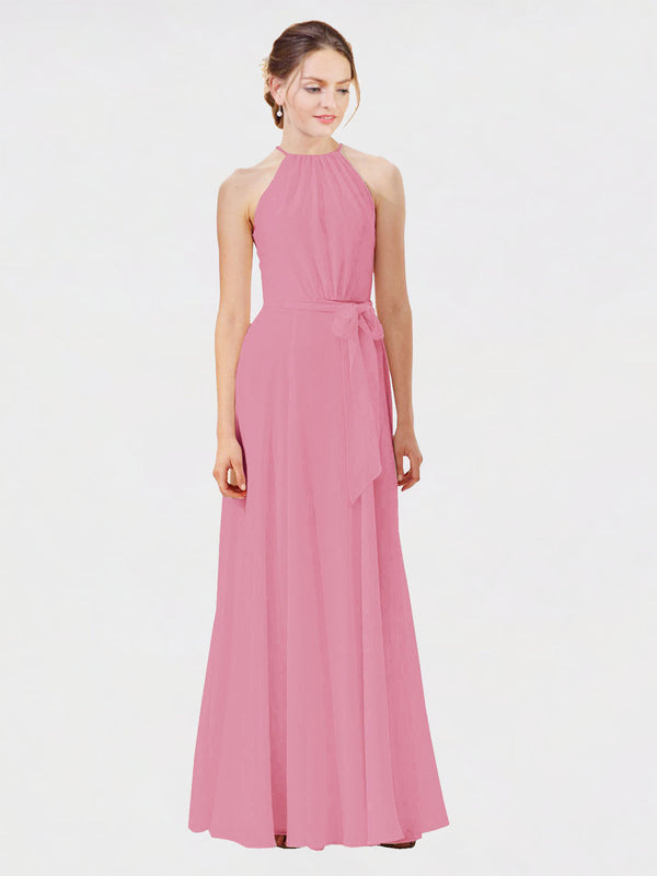 Mila Queen Kendal Bridesmaid Dress Skin Pink - A-Line High Neck Bateau Long Bridesmaid Gown Kendal in Skin Pink