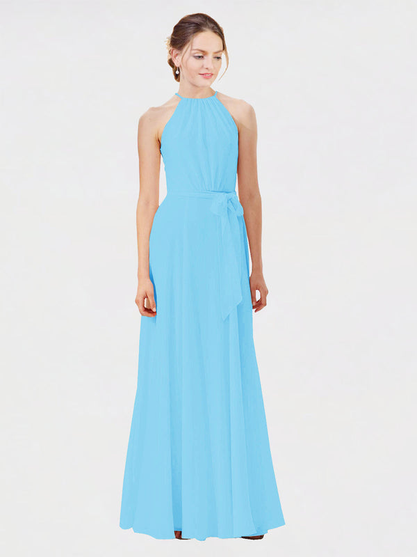 Mila Queen Kendal Bridesmaid Dress Sky Blue - A-Line High Neck Bateau Long Bridesmaid Gown Kendal in Sky Blue