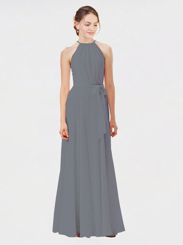 Mila Queen Kendal Bridesmaid Dress Slate Grey - A-Line High Neck Bateau Long Bridesmaid Gown Kendal in Slate Grey