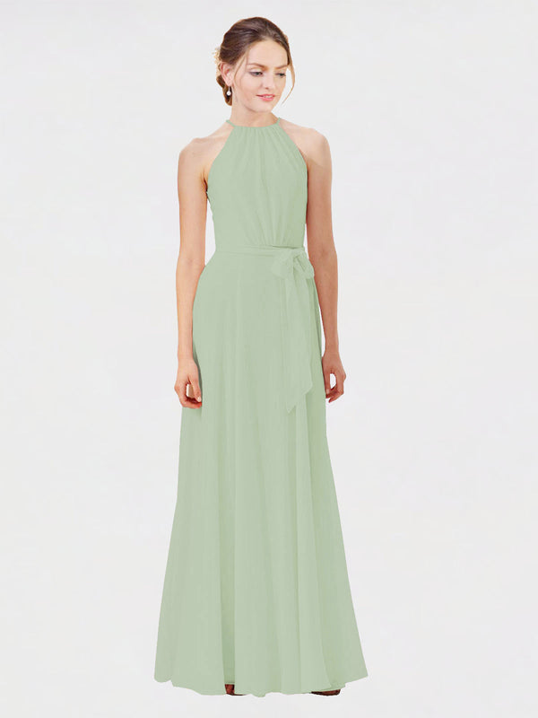 Mila Queen Kendal Bridesmaid Dress Smoke Green - A-Line High Neck Bateau Long Bridesmaid Gown Kendal in Smoke Green