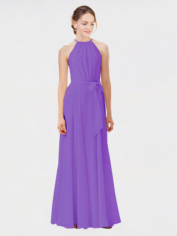 Mila Queen Kendal Bridesmaid Dress Tahiti - A-Line High Neck Bateau Long Bridesmaid Gown Kendal in Tahiti