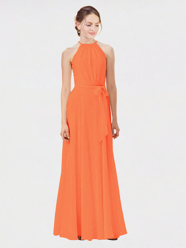 Mila Queen Kendal Bridesmaid Dress Tangerine Tango - A-Line High Neck Bateau Long Bridesmaid Gown Kendal in Tangerine Tango