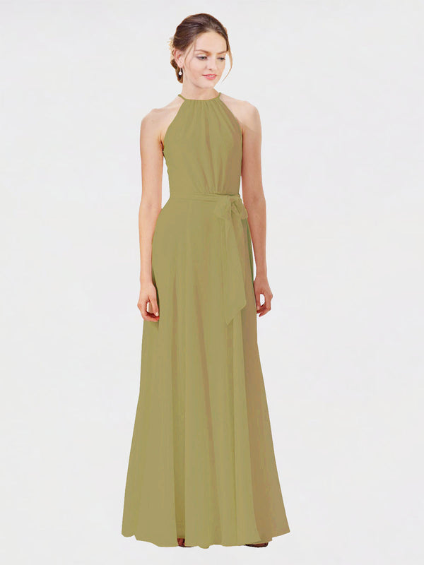 Mila Queen Kendal Bridesmaid Dress Topaz - A-Line High Neck Bateau Long Bridesmaid Gown Kendal in Topaz