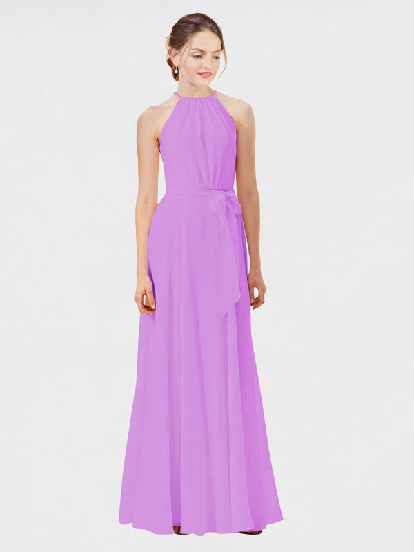 Mila Queen Kendal Bridesmaid Dress Violet - A-Line High Neck Bateau Long Bridesmaid Gown Kendal in Violet