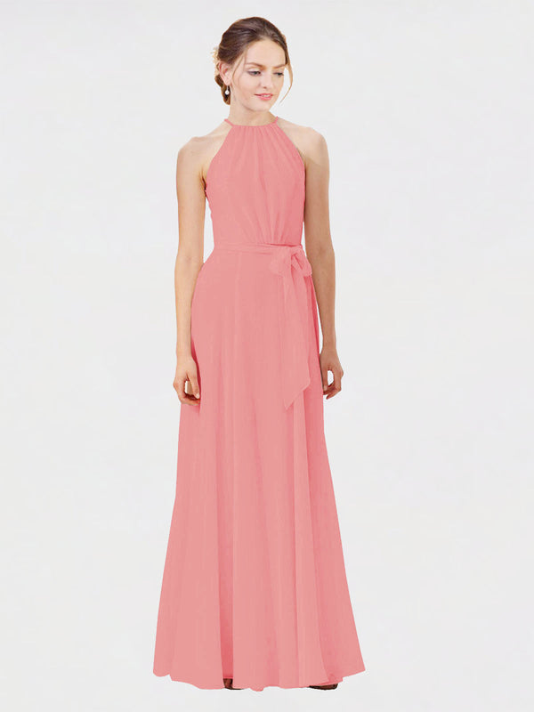 Mila Queen Kendal Bridesmaid Dress Watermelon - A-Line High Neck Bateau Long Bridesmaid Gown Kendal in Watermelon