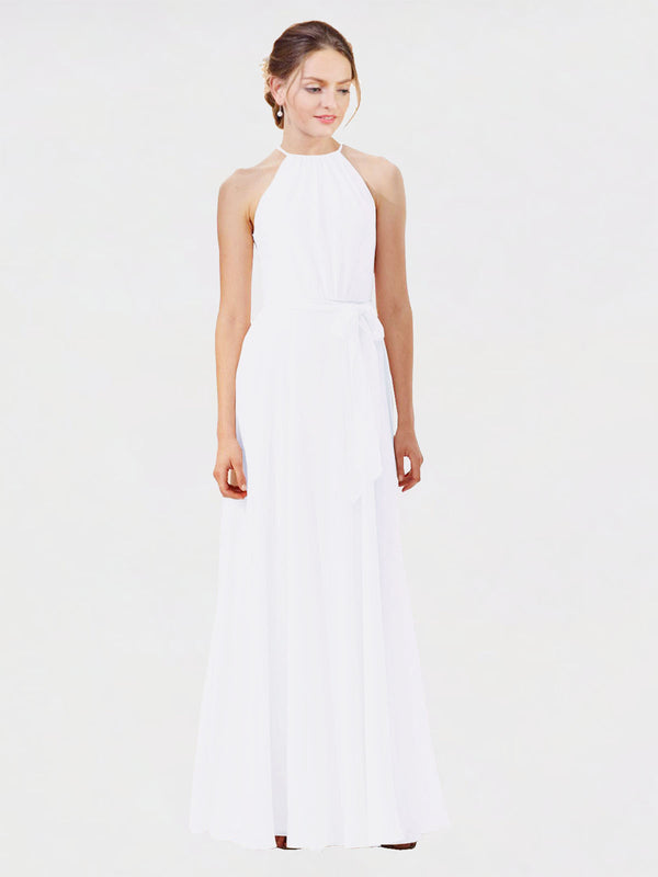 Mila Queen Kendal Bridesmaid Dress White - A-Line High Neck Bateau Long Bridesmaid Gown Kendal in White