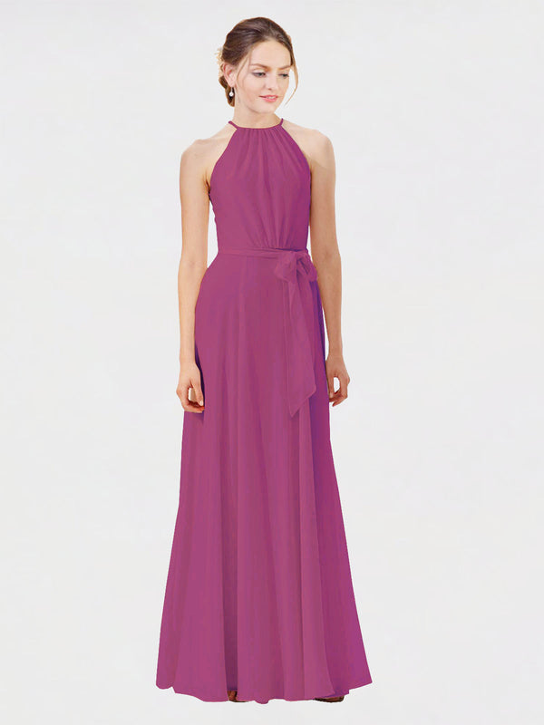 Mila Queen Kendal Bridesmaid Dress Wild Berry - A-Line High Neck Bateau Long Bridesmaid Gown Kendal in Wild Berry