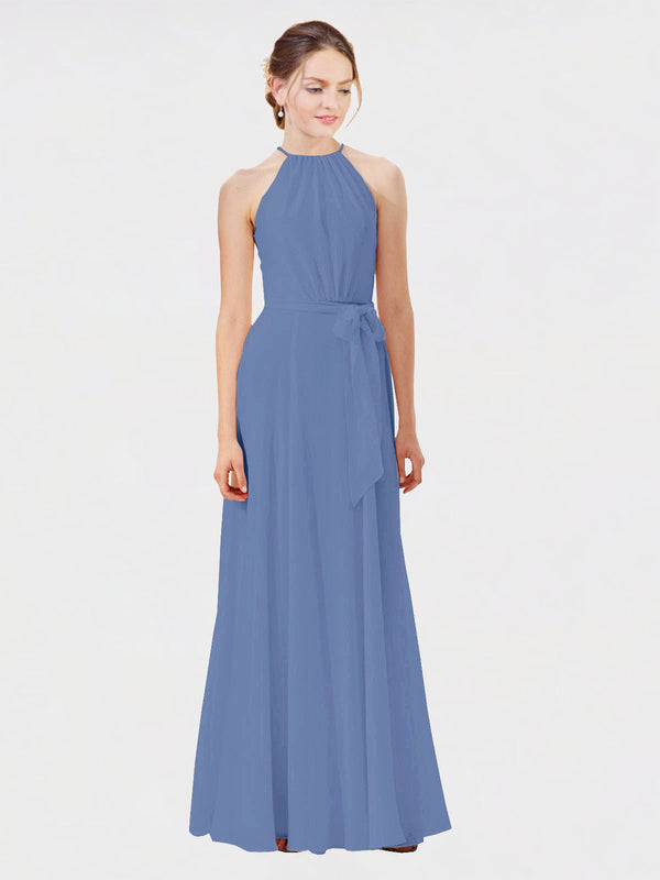 Mila Queen Kendal Bridesmaid Dress Windsor Blue - A-Line High Neck Bateau Long Bridesmaid Gown Kendal in Windsor Blue