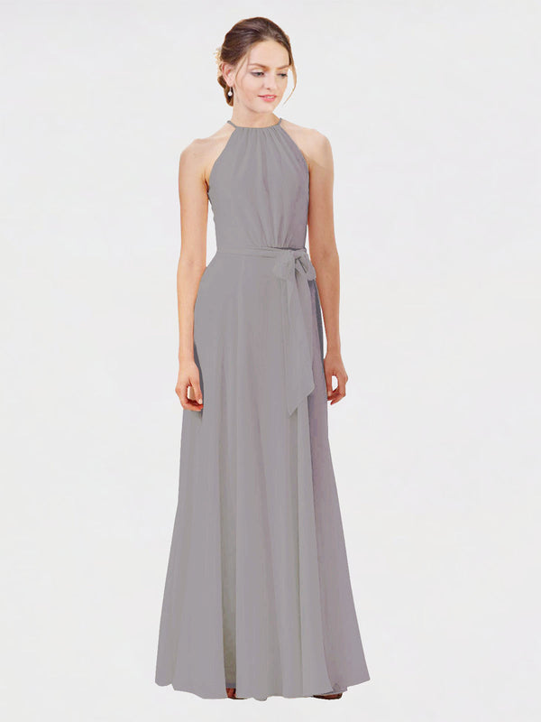 Mila Queen Kendal Bridesmaid Dress Wisteria - A-Line High Neck Bateau Long Bridesmaid Gown Kendal in Wisteria