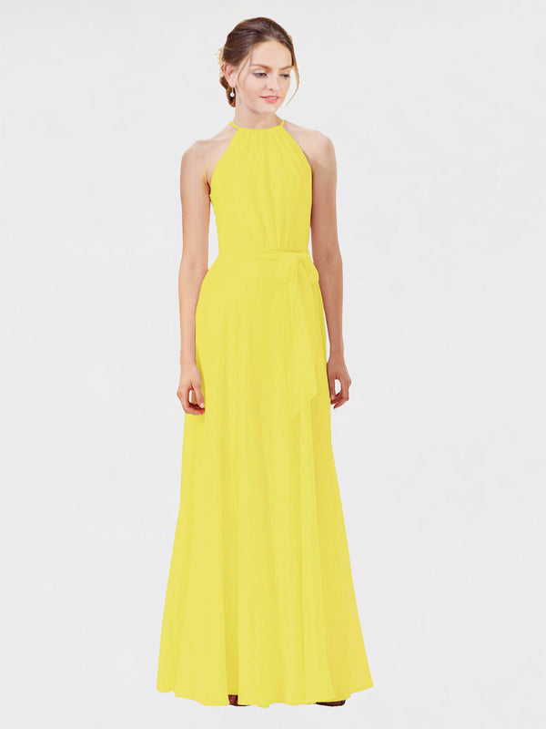 Mila Queen Kendal Bridesmaid Dress Yellow - A-Line High Neck Bateau Long Bridesmaid Gown Kendal in Yellow