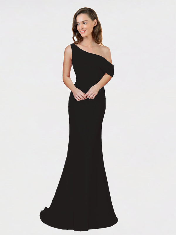 Black Sheath One Shoulder Sleeveless Long Crepe Bridesmaid Dress Cantrell