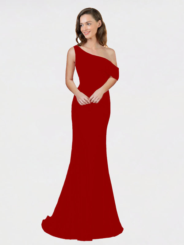 Burgundy Sheath One Shoulder Sleeveless Long Crepe Bridesmaid Dress Cantrell