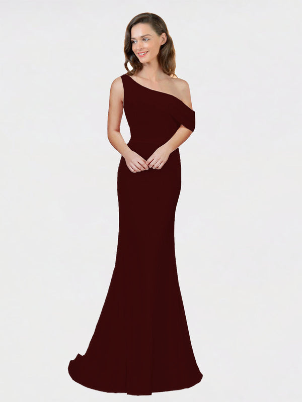 Burgundy Gold Sheath One Shoulder Sleeveless Long Crepe Bridesmaid Dress Cantrell