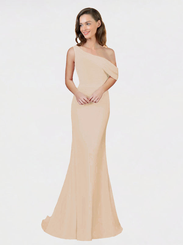 Champagne Sheath One Shoulder Sleeveless Long Crepe Bridesmaid Dress Cantrell