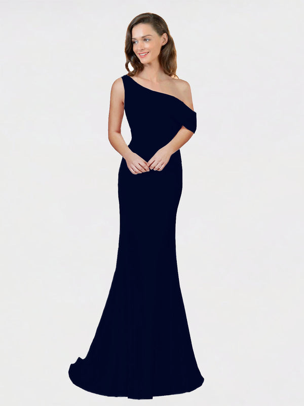 Dark Navy Sheath One Shoulder Sleeveless Long Crepe Bridesmaid Dress Cantrell