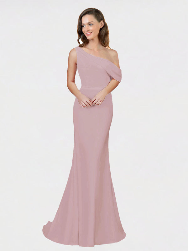 Dusty Pink Sheath One Shoulder Sleeveless Long Crepe Bridesmaid Dress Cantrell