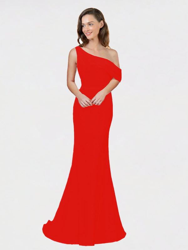 Firecracker Sheath One Shoulder Sleeveless Long Crepe Bridesmaid Dress Cantrell