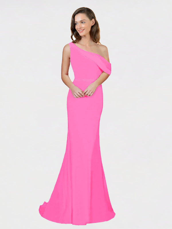 Fuchsia Sheath One Shoulder Sleeveless Long Crepe Bridesmaid Dress Cantrell