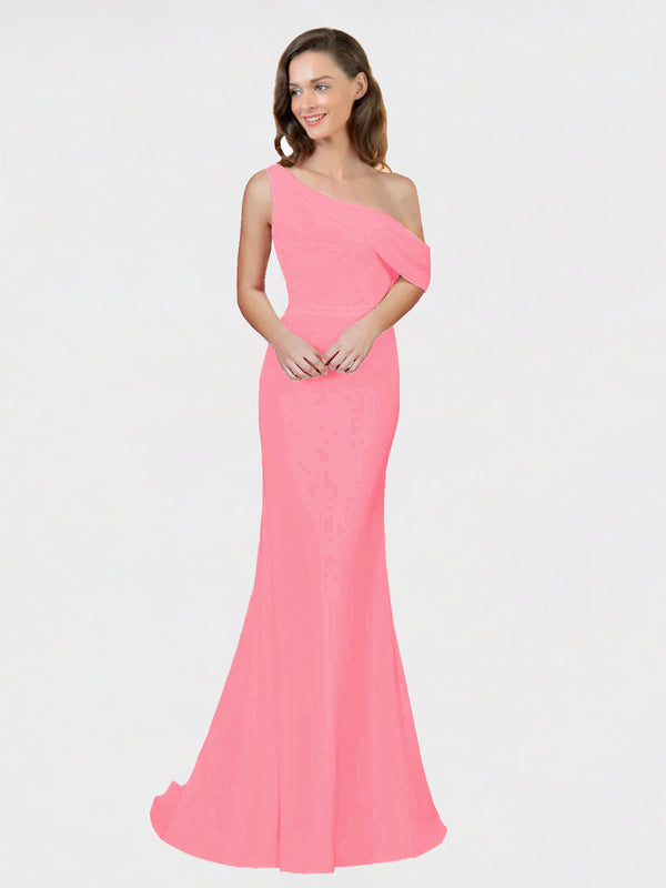 Hot Pink Sheath One Shoulder Sleeveless Long Crepe Bridesmaid Dress Cantrell
