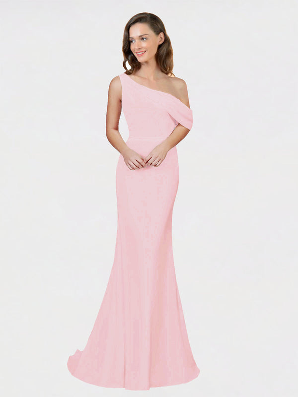 Ice Pink Sheath One Shoulder Sleeveless Long Crepe Bridesmaid Dress Cantrell