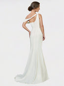 Ivory Sheath One Shoulder Sleeveless Long Crepe Bridesmaid Dress Cantrell