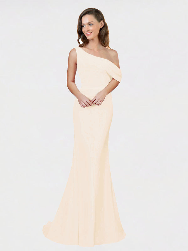 Light Champagne Sheath One Shoulder Sleeveless Long Crepe Bridesmaid Dress Cantrell