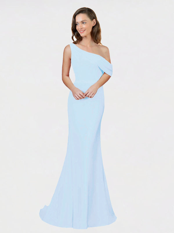 Light Sky Blue Sheath One Shoulder Sleeveless Long Crepe Bridesmaid Dress Cantrell