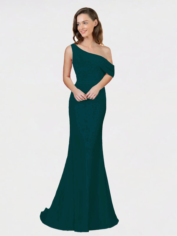 Midnight Green Sheath One Shoulder Sleeveless Long Crepe Bridesmaid Dress Cantrell