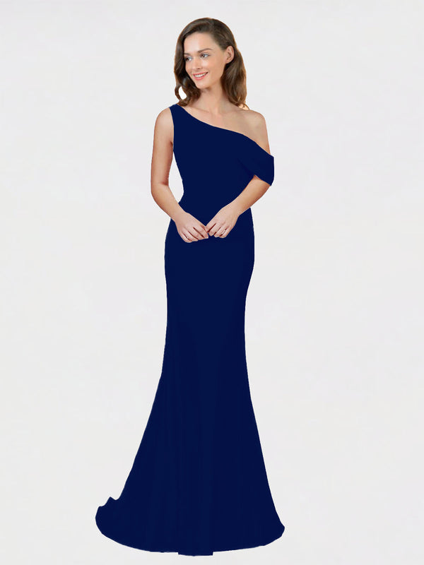 Navy Blue Sheath One Shoulder Sleeveless Long Crepe Bridesmaid Dress Cantrell