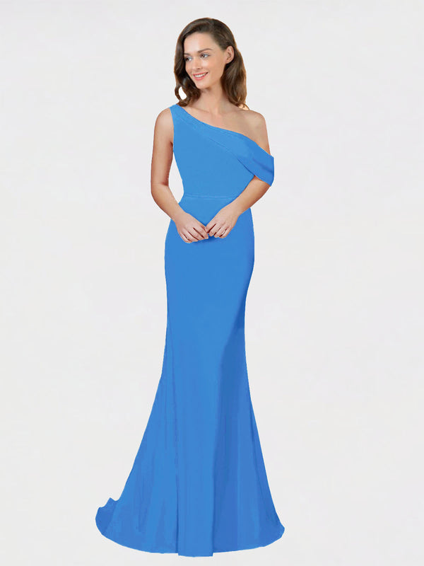 Peacock Blue Sheath One Shoulder Sleeveless Long Crepe Bridesmaid Dress Cantrell