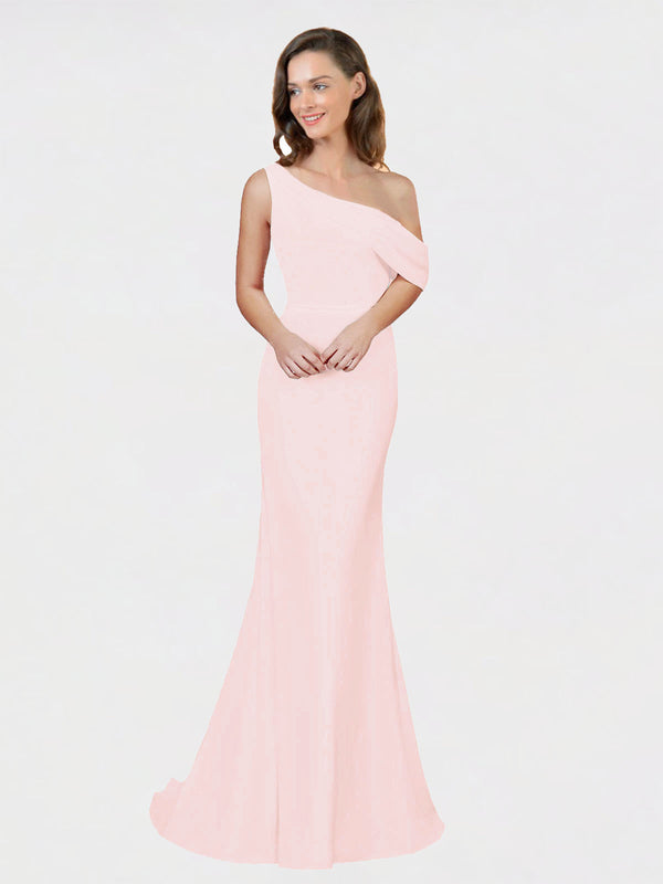 Pink Sheath One Shoulder Sleeveless Long Crepe Bridesmaid Dress Cantrell
