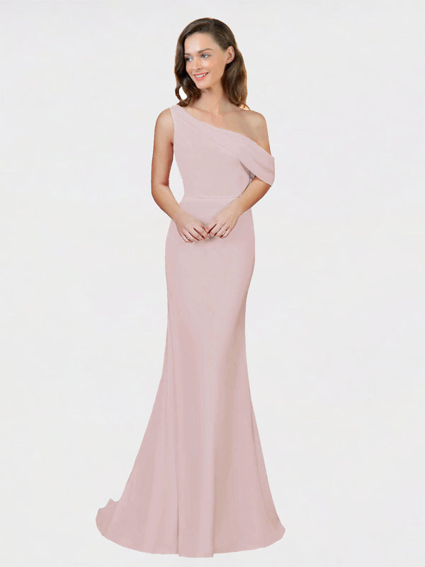 Primrose Sheath One Shoulder Sleeveless Long Crepe Bridesmaid Dress Cantrell