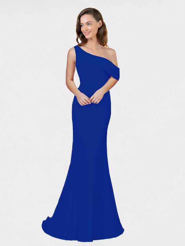 Royal Blue Sheath One Shoulder Sleeveless Long Crepe Bridesmaid Dress Cantrell