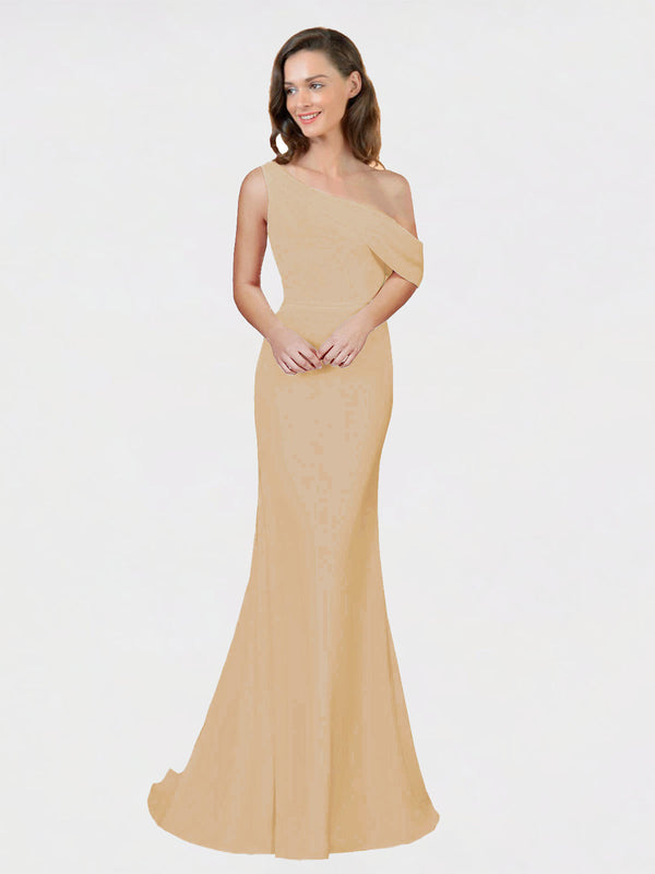 Topaz Sheath One Shoulder Sleeveless Long Crepe Bridesmaid Dress Cantrell