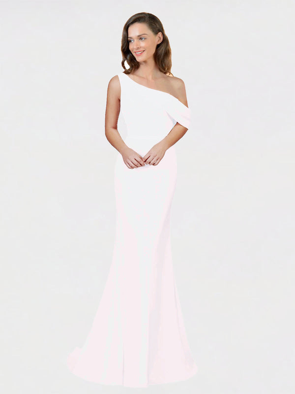 White Sheath One Shoulder Sleeveless Long Crepe Bridesmaid Dress Cantrell