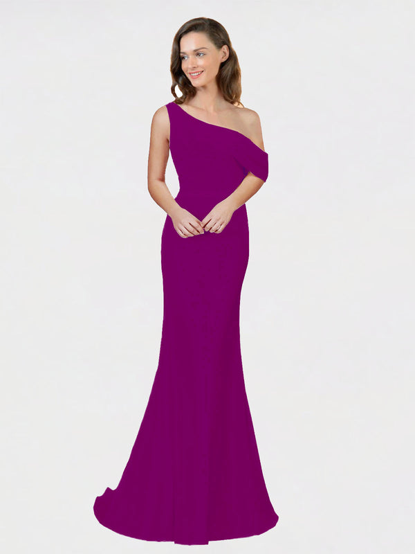 Wild Berry Sheath One Shoulder Sleeveless Long Crepe Bridesmaid Dress Cantrell