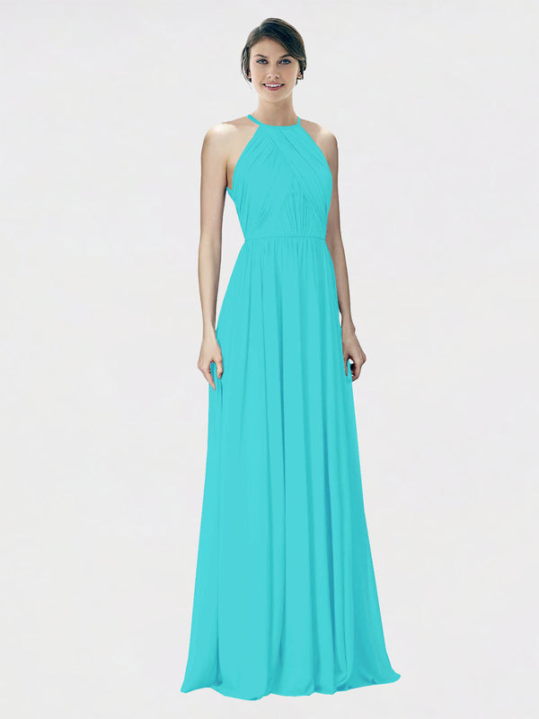 Mila Queen Krystina Bridesmaid Dress Aqua - A-Line Halter Long Bridesmaid Gown Krystina in Aqua