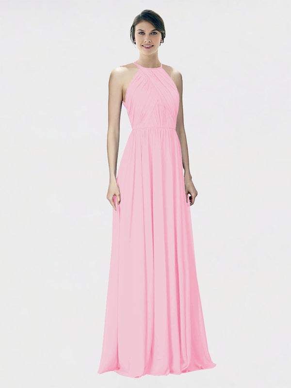 Mila Queen Krystina Bridesmaid Dress Barely Pink - A-Line Halter Long Bridesmaid Gown Krystina in Barely Pink