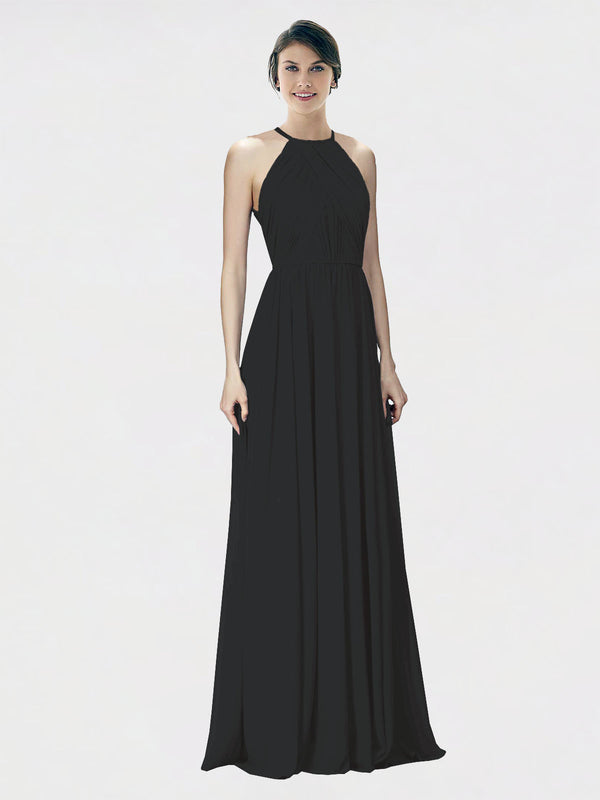 Mila Queen Krystina Bridesmaid Dress Black - A-Line Halter Long Bridesmaid Gown Krystina in Black