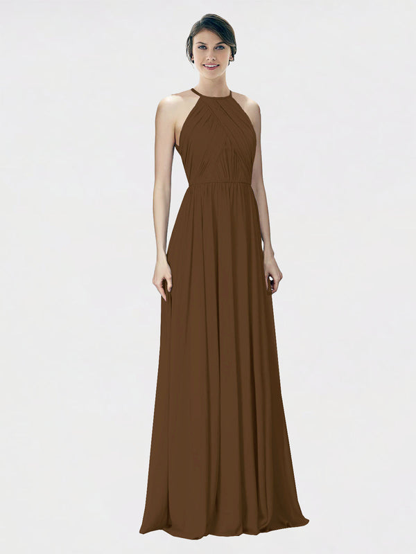 Mila Queen Krystina Bridesmaid Dress Brown - A-Line Halter Long Bridesmaid Gown Krystina in Brown