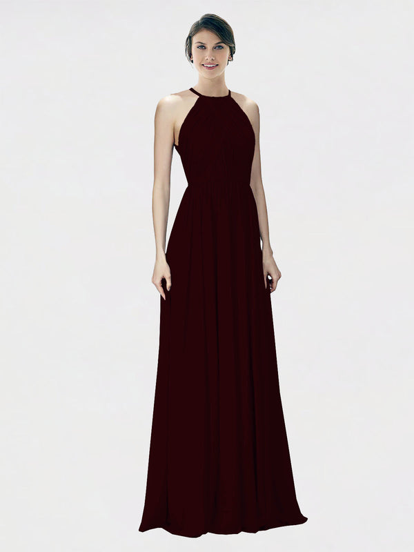 Mila Queen Krystina Bridesmaid Dress Burgundy Gold - A-Line Halter Long Bridesmaid Gown Krystina in Burgundy Gold