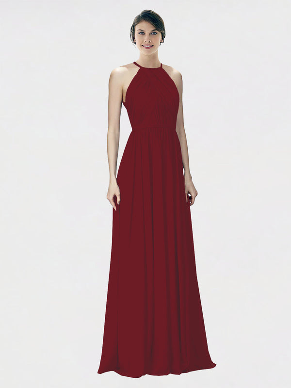 Mila Queen Krystina Bridesmaid Dress Burgundy - A-Line Halter Long Bridesmaid Gown Krystina in Burgundy