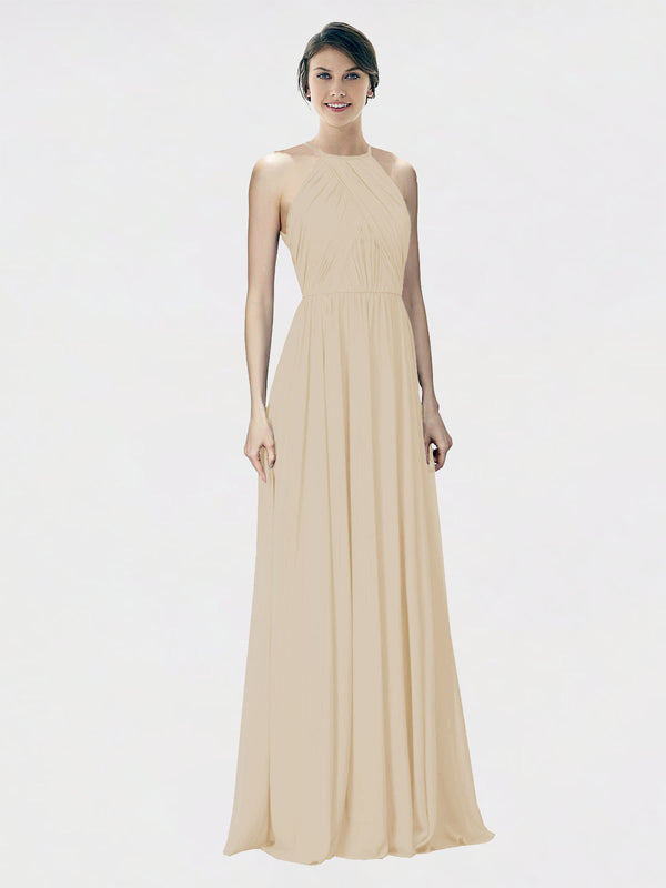 Mila Queen Krystina Bridesmaid Dress Champagne - A-Line Halter Long Bridesmaid Gown Krystina in Champagne