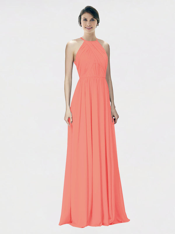 Mila Queen Krystina Bridesmaid Dress Coral - A-Line Halter Long Bridesmaid Gown Krystina in Coral