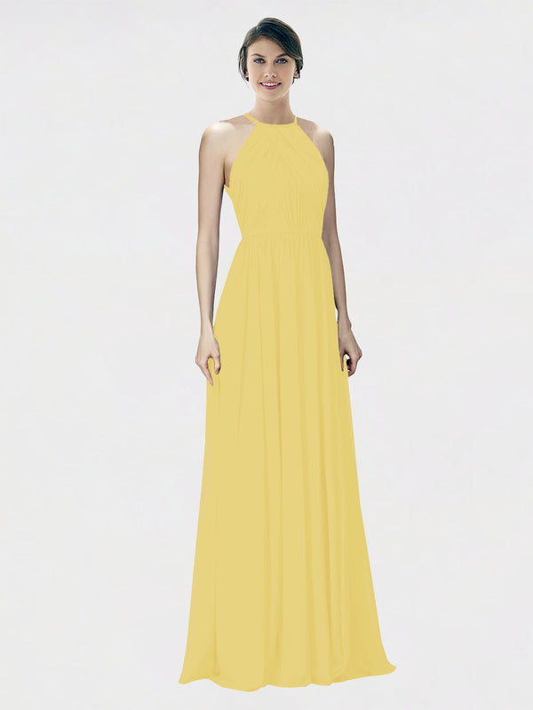 Mila Queen Krystina Bridesmaid Dress Daffodil - A-Line Halter Long Bridesmaid Gown Krystina in Daffodil