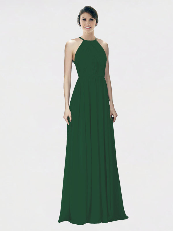 Mila Queen Krystina Bridesmaid Dress Dark Green - A-Line Halter Long Bridesmaid Gown Krystina in Dark Green