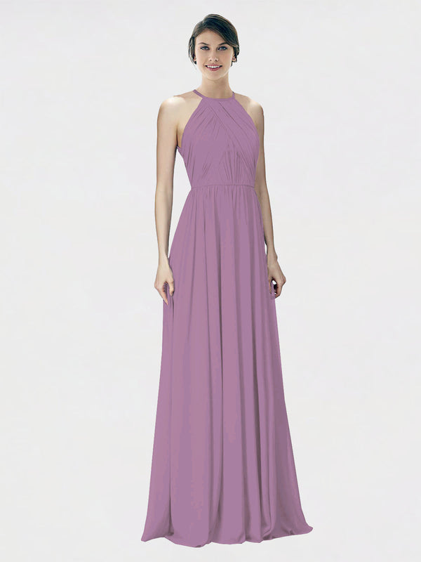 Mila Queen Krystina Bridesmaid Dress Dark Lavender - A-Line Halter Long Bridesmaid Gown Krystina in Dark Lavender