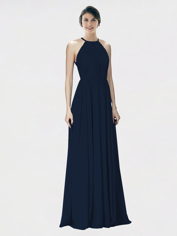 Mila Queen Krystina Bridesmaid Dress Dark Navy - A-Line Halter Long Bridesmaid Gown Krystina in Dark Navy