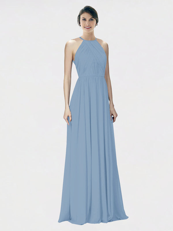 Mila Queen Krystina Bridesmaid Dress Dusty Blue - A-Line Halter Long Bridesmaid Gown Krystina in Dusty Blue