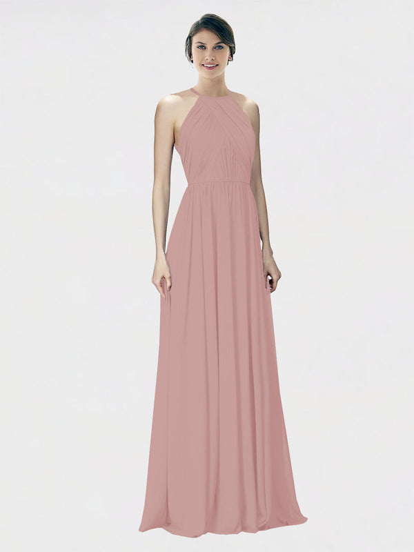 Mila Queen Krystina Bridesmaid Dress Dusty Pink - A-Line Halter Long Bridesmaid Gown Krystina in Dusty Pink